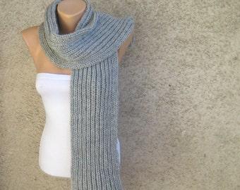 Thick Grey Scarf Merino Wool Long, Men Women Soft Double Face Rib Pattern Knit Wrap, Organic Wool Blend Yarn, Urban Chic Gift idea by dimana