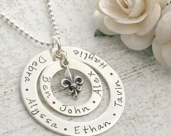 Large Family  - Personalized -  Double Washer Style Necklace - Fleur-de-lis Charm