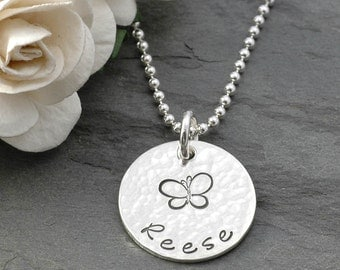 "Mommy Jewelry - Personalized hand stamped necklace -  5/8"" disc"