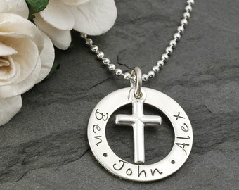"Small 3/4"" washer style necklace with cross charm - personalized - hand stamped"