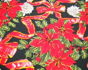 Christmas Fabric from Alexander Henry Collection, 1 Yd cotton Remnant, Black & Red Holiday Print Fabric, Quilting Notions