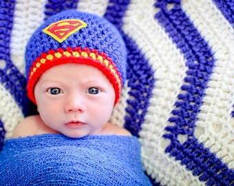 Newborn Photo Prop Baby Boy Superman Hat
