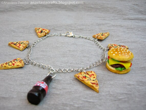 Fast Food Thin Chain Charm Bracelet, pizza slices, cheeseburger, coke bottle