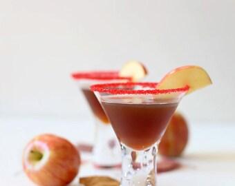 Red cocktail rim sugar - colorful garnish for martini glasses, champagne flutes