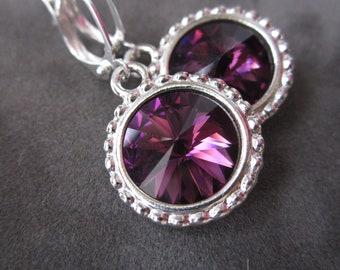 February Birthstone Earrings, Purple Rhinestone Jewelry, Amethyst Earrings, Silver Drop Earrings, Amethyst Jewelry