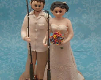 Custom Wedding Cake Topper Fishing Theme