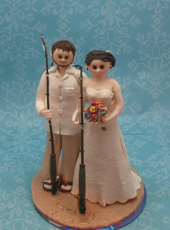 Custom Wedding Cake Topper Fishing Theme By MandMClayCreations