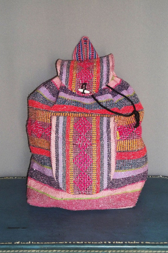 Vintage Pink ETHNIC Tapestry SOUTHAMERICAN BACKPACK