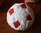 Red and White Star Quilt Ornament