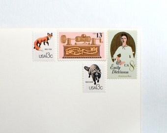 Sends 4 Letters - Emily, Fox, & Sound - Unused vintage postage stamp set to post 4 letters