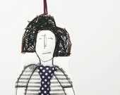 Wall Decorations Black and white Modern hip  Teenager Wall Decoration -  Wearing a striped dress and a polka dot tie - handmade fabric doll