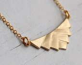 Geometric Pyramid Necklace ... Vintage Brass Geometric Shape with Gold Chain