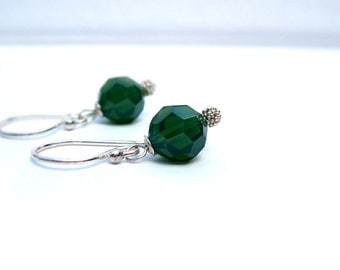 Moss Opal - Earrings - Moss Green Opal Swarovski crystals and Sterling silver