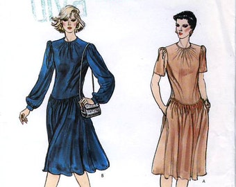 Vogue 8391 Vintage 80s Misses' Dress Sewing Pattern - Uncut - Size 12, 14, 16 - Bust 34, 36, 38