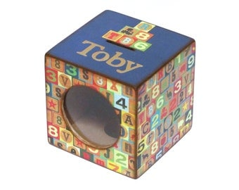 Wood Coin Bank Box Kids Piggy Bank with Window - Building Blocks with Blue- Personalized