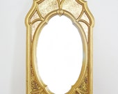 Vintage Large Gold Wall Mirror Boudoir Hollywood Regency Ornate Plastic Frame Oval Window Pane Acanthus Leaf Metallic Gold