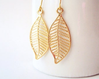 Gold Leaf Earrings, Filigree Leaf Earrings, Gold leaves, Simple, Delicate, Nature Jewelry, Autumn Leaf, Everyday Jewelry, Woodland, Dainty