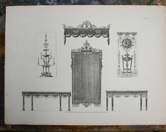 Decorative Work of Robert Adam British Architectural Print 1900