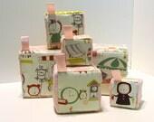 Set of 6 Stacking blocks - Sensory Jingle Crinkle Baby Toy Set