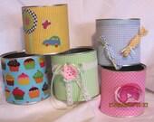 CUSTOM ORDER for momagn07 4  CHILDREN -baby girl ladies romantic --repurposed  Tin cans