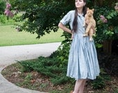 50s - The Best for June - fifth avenue  blue shirtwaist button up dress with full skirt and short sleeves  - size m