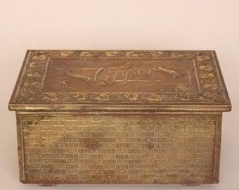 Victorian Oak and Brass Repousse Slipper Box