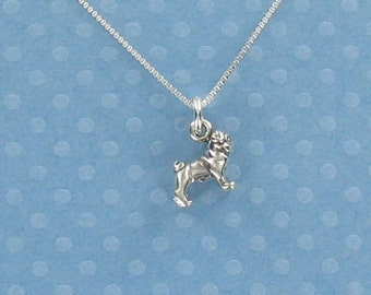 Pug Pendant Sterling Silver on Gift Card