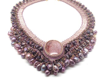 Bib Necklace, Statement Jewelry, Statement Necklace, Light Purple Necklace, Beaded Necklace, Beaded Jewelry, Nubian Bride