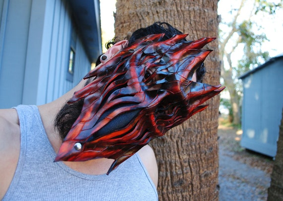 Leather Haunted Tree Ent Mask - Living Flame