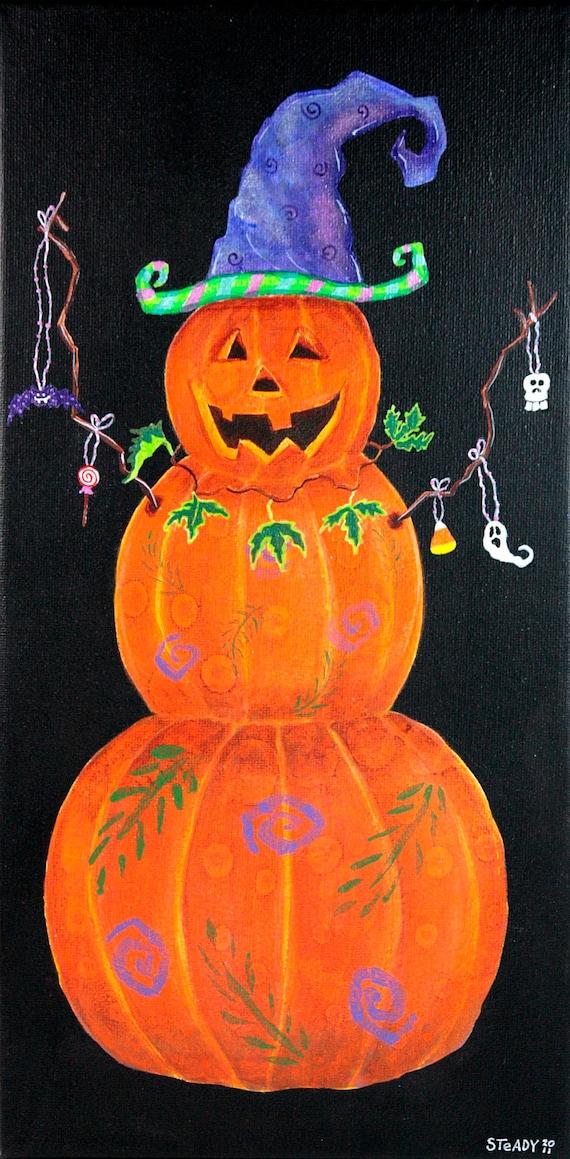October Halloween Autumn Orange and Black Pumpkin Witch Hat Snowman Original Acrylic Painting on Etsy (7x14 canvas)