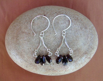 Red Garnet Earring Small Silver Chandelier Garnet Birthstone Earring Beaded Gemstone Dangle January Birthstone