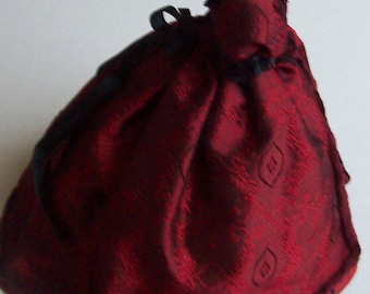 Red silk Victorian gown on mannequin 1/12th scale dollhouse miniature