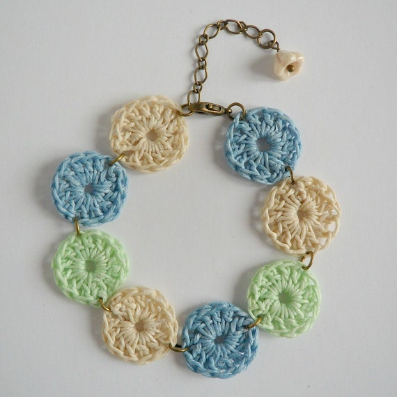 Mint, Pale Blue and Natural Crocheted Waxed Irish Linen Bracelet
