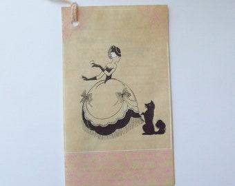 Vintage Art Deco silhouette Gibson bridge tally card score card Victorian lady and dog ephemera