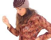 SALE. Crochet Hat  Beige  youth  adult , Oversized Beanie  with  dark brown ruches