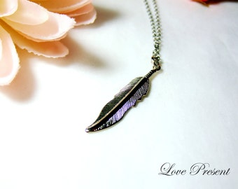 Black Friday Grand Silver Feather Charm Necklace - Perfect for Love