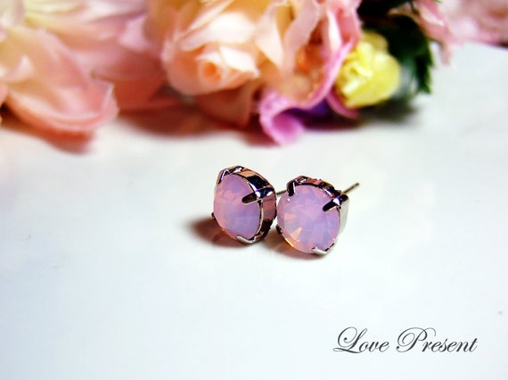Grand Swarovski Crystal Stud Typical Pierced Earrings - Bridesmaid Gift. Simple Modern Jewelry - Color Rosewater Pink Opal