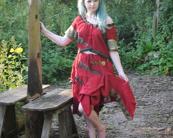 Silk gypsy dress Dark red fairy pirate costume Bohemian clothing, Tribal fusion Festival outfit, circus, burlesque crop top & skirt