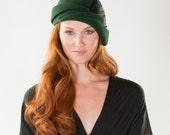Emerald Green Cloche Hat -Wool Felt Chic Architectural Hat
