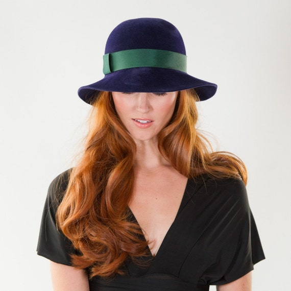 Cloche, Hat, Navy, Hat, Emerald Green, Hatband and Pleated Brim