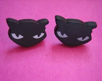 Black EVIL KITTEN CAT ear studs earrings