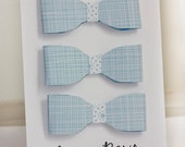 Blue patterned paper bow gift topper set of 3, FREE SHIPPING until Nov. 20