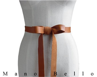 "Burnt Honey Tan Leather Ribbon Bow Belt 1 inch 1"" Leather Strap Rustic Wedding Dress Belt32 - 40 waist, Now SEAMLESS  L, XL, XXL custom made"