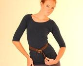 Women's Shirt - Wide Neck Tunic Length 3/4 Sleeve Shirt - Organic Clothing - Eco Friendly -Navy Blue