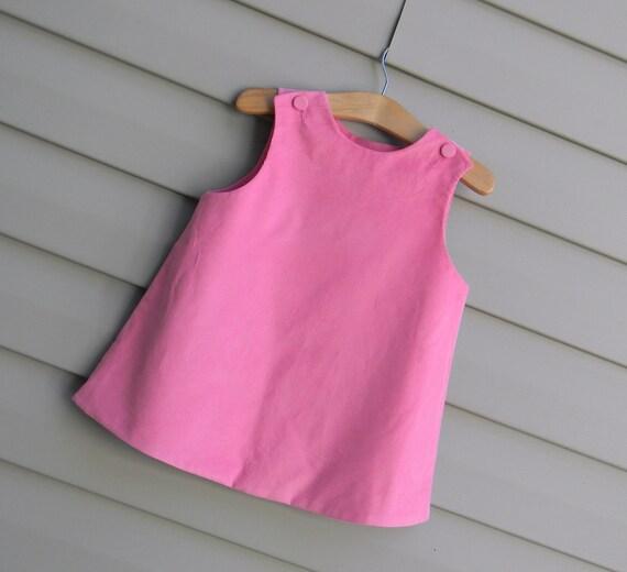Girls Pink Corduroy Jumper Dress, Monogram it with purchase of Monogram Upgrade