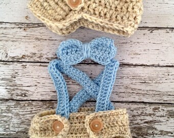 Little Man Suit in Wheat and Baby Blue with Matching Diaper Cover, Suspenders and Bow Tie Available in 3 Sizes- MADE TO ORDER