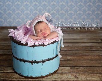 Little Miss Bear Bonnet in Pale Pink and Light Gray Available in Newborn to 12 Month Size- MADE TO ORDER