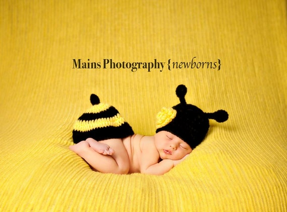 Little Miss Bumble Bee Beanie in Black and Yellow Available in Newborn to 6 Months Size- MADE TO ORDER