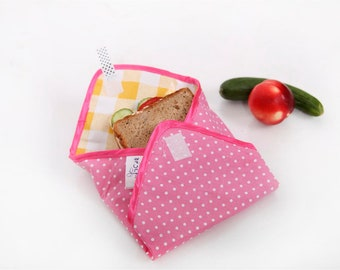 Reusable Sandwich Wrap pink polka dots