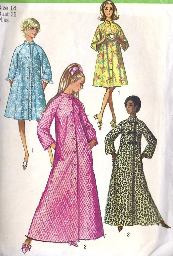 1970s Misses Robe in 2 Lengths Vintage Sewing Pattern Simplicity 9074 bust 36""